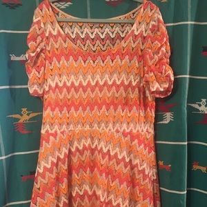 XL NY Collection Macy's peach & pink texture dress